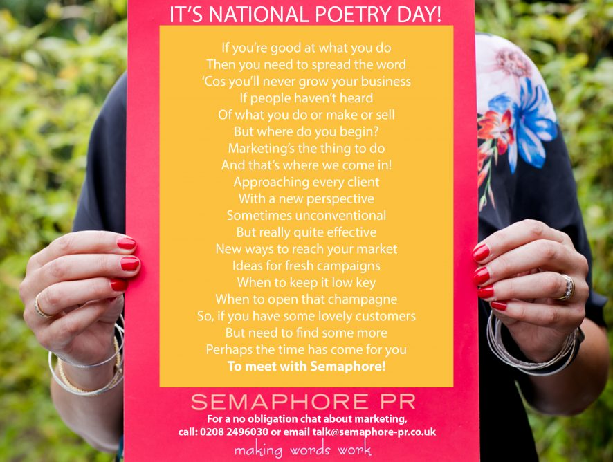 National Poetry Day – Use It To Have Your Say!